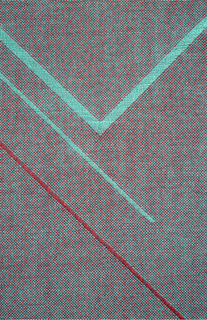 Grey background with a design of diagonal crosses, lines and zig-zags in red and torquoise. Fabric is reversible.