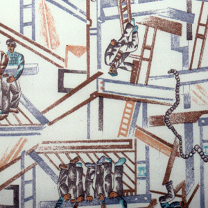 Design of construction workers in building scaffolding.
