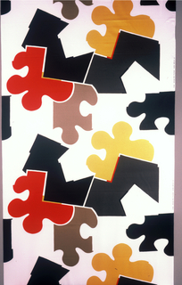 """Large """"puzzle pieces"""" in black, yellow, red, dark grey and khaki on a whiteground."""