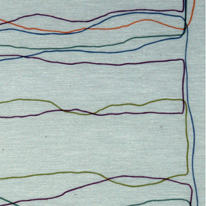 Sheer fabric with bright crayon-color lines drawing random horizontal rectangles.