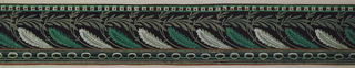 Three bands of varied patterns and sizes. The top band has a continuous row of dotted squared alternating with smaller dots, contained between two stripes. The wide middle band consists of feathers alternating with willow-like branches. The bottom band of chain links is bracketed by three stripes above and below. Printed in green, grey, orange, and white on a black ground.  H# 665