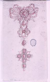 At top, a large pink bow knot studded with stone. A smaller knot below, from which hangs a cross with square stones and pearls.