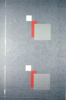 Abstract pattern of geometric shapes on a textured grey ground.