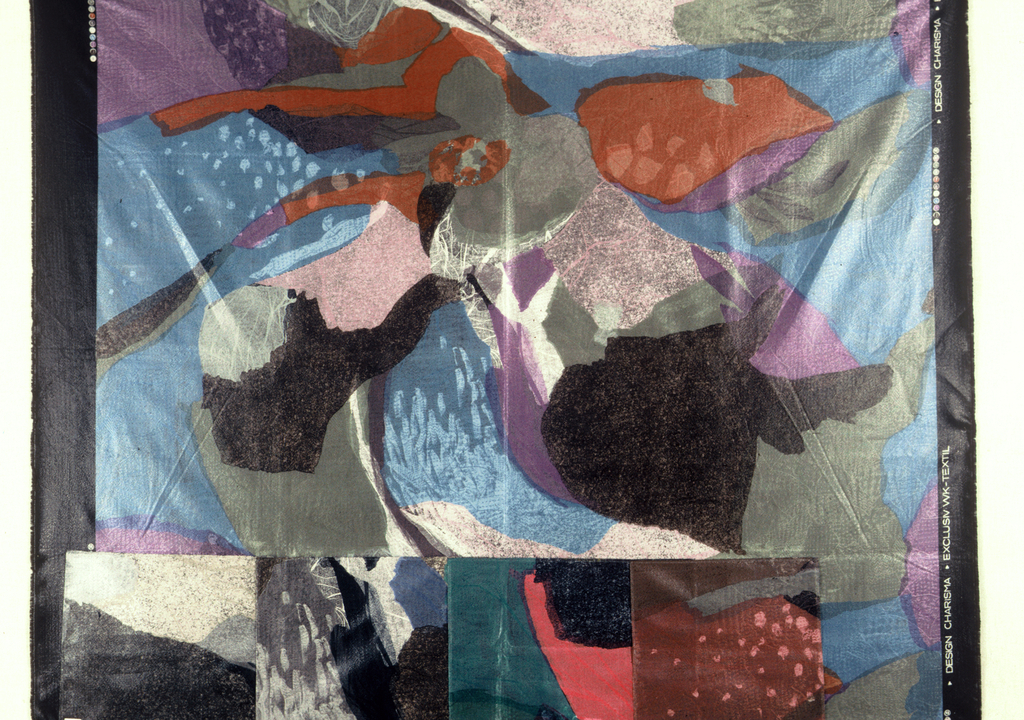 Non-direction, overlapping abstract areas of color on a jacquard background fabric.  Four color ways attached to the bottom.
