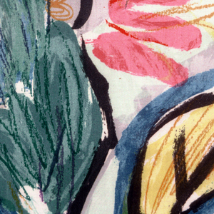 Flowers rendered in a free painterly style with brush and crayon textures.  Bright colors.  Three colorways attached.