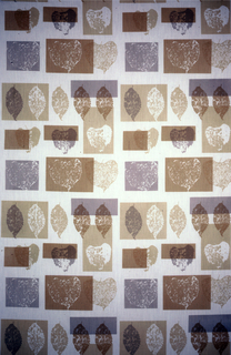 Rectangles of various sizes and proportions arranged in loose horizontal rows, printed with silhouettes of leaves. In pale shades of rust, gray, tan and green on a white ground.