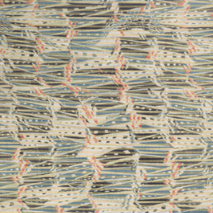 Two thirds of the fabric is patterned with an abstract design in orange, slate blue and grey with twill stripes in the warp direction. The remaining third is patterned only with stripes.