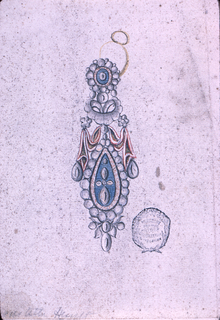 The ring has two slopes. On the larger, a disk is fastened, intended to be enameled like the drop and the drapery. The disk and the drop are framed by a row of beads. Both are connected by a floral motif and a drapery festoon.