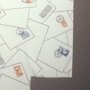 Design of overlapping stamped and cancelled envelopes. Black, orange and blue on white.