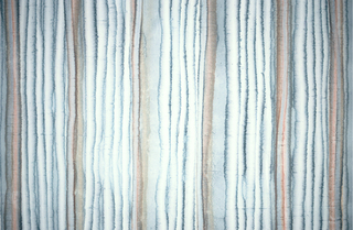 Vertical watery stripes in blue-green and rust.