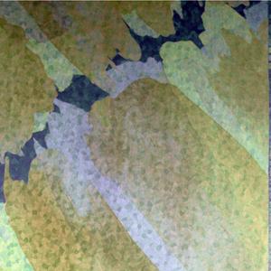 Diagonally slanted splotches of color. Predominany green-gold.