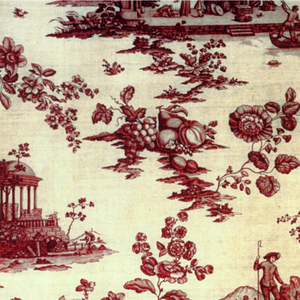 Various widely spaced scenes inckuding classical ruins, a shepherd, seaport/trading scenes and scattered flowers in red on white ground.