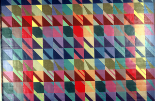 Brightly colored squares broken by diagonals