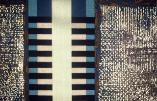 Geometric arrangement of barred stripes and dotted areas. 12 screens. Purples, blues black and gold.