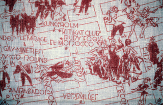 Central square with map of New York with nightclubs listed in bold type and with cartoon-like figures. Outer border a list of 'insider' contacts.  Inscription:  Ask for Jimmie at Stork Club-Pierre at Twenty-One-Harry at Paradise-Gege at CoqRouge-Alphonse at International Casino-Leo at Casa Manana-Alfred at Versaille-Francois the Rainbow Room-Ambrose the Starlight Roof-Waldorf-Charles at Chatham-George at the Park Lane-Bernardi at the Hotel Pierre-Paul the Persian Room-and Harry at the Savoy-Plaza.
