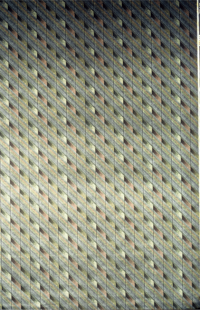 Diagonal shaded stips broken by vertical stripes.