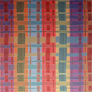 Brightly colored fabric with a design simulating interwoven strips of different weaves