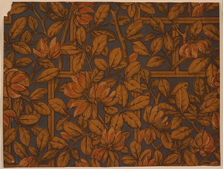 Trellis in shades of metallic gold outlined in black with blossoms in metallic copper and gold, outlined in black.