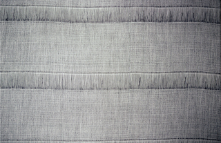 Length of woven fabric with a black warp and white wefts. Horizontal stripes are formed by spacing the wefts approximately one inch apart in those areas, leaving sheer bands of black warp floats.