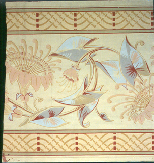 Aesthetic-style design, with large-scale floral and foliage motif scrolling in center of design. Narrow bands of arches and lines along either edge. Printed in soft colors on light yellow ground.