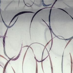 """White fabric with freehand arcs which are sheer and printed with bright colors to create a """"stained glass window effect."""""""