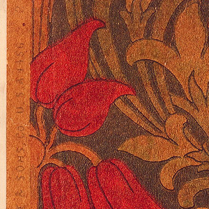 Floral and foliate pattern in art nouveau style. Printed in green, red, and tan on a yellow ground,.