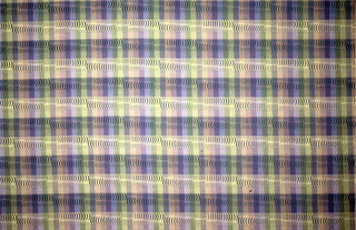 Vertical stripes in shades of green and purple with horizontal rows of black crescent shapes.