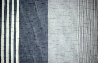 Fabric with vertical bands and allover small horizontal waves; bands in black and white, grey and white stripes, black undulating stripes, and two bands of light grey and dark grey.