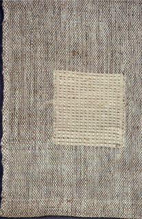 Square with lighter colored 2 inch square placed at one side so as to form a prominent pattern interest when the napkin was folded into quarters.