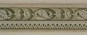 Narrow border of classical inspiration. A band of enlarged bead-and-reel pattern, each decorated with foliage, extends between an edge of dentilling and an edge of imbricated scalloped bands.