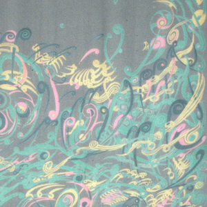 Swirling circular shapes with tails, inspired by fern fiddleheads. Fucshia, orange and green on navy.