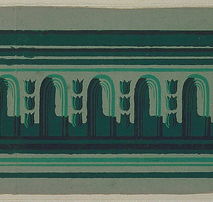 Rounded architectural arches alternating with three vertically stacked bellflowers, this placed between top and bottom numerous stripes. Printed in three shades of green on gray ground.  H#216