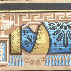 Two borders, possibly a top and bottom border. The wider border contains a blue fabric draped over a rod, separated by urns on pedestals.  The narrower border only contains the draped fabric.  H# 424