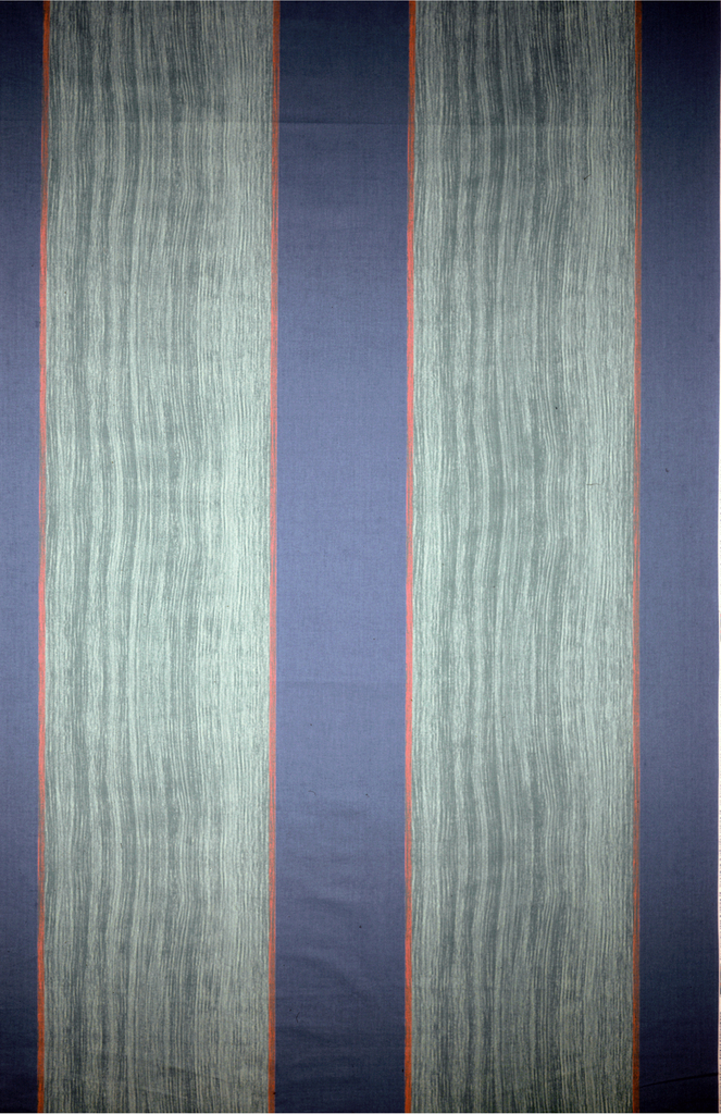 """Alternation of fine, vertical parallel lines with looser """"combed finger-painting' look.. 3 blues, 2 greens and pink."""