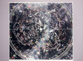 Map of the night skies naming the constellations.
