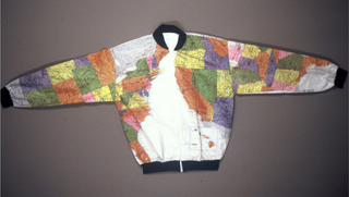 Warm-up jacket made from a sheet of map of the United States.