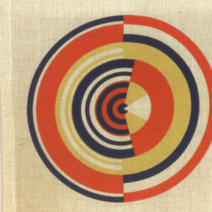 Outdoor furnishing fabric with a split bullseye pattern in navy blue, dark yellow and orange.
