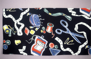 Sewing tools: pincushion, scissors, needlecase, safety pins, buttons, in bright colors on a black background.