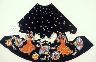 Shaped panel, the equivalent of one-fourth of a woman's skirt. Design of Spanish dancers and accessories in bright colors on black.