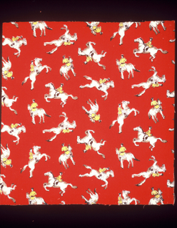Riders on horseback in black, yellow, beige, and white on bright red.