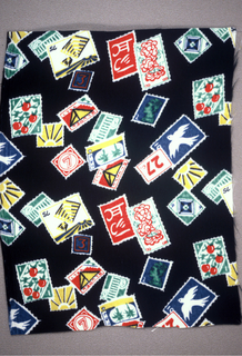 Brightly colored postage stamps on a black background.