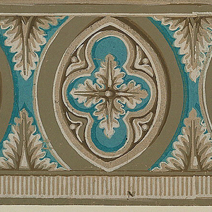 Consists of ogival ovals with quatrefoil-enframed paterae centers. The ovals are separated by acanthus leaves. Printed in shades of beige, brown and blue on gray ground.