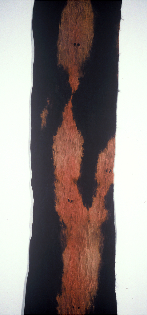 Black with areas of brown and redish brown.