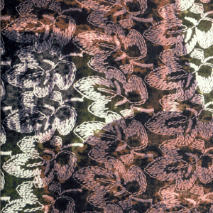 Textured surface created by machine embroidery on a jacquard-woven surface. A large-scale, abstract leaf pattern in browns and greens is superimposed over a small-scale repeating leaf pattern in black and white.