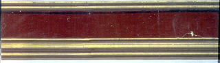 Brownish-red flock border with narrow bands of gold along top and bottom edges, similates architectural molding.  H# 187