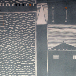 On a black ground, 3 repeats of abstracted landscapes with tall houses, swimming pools, trees.