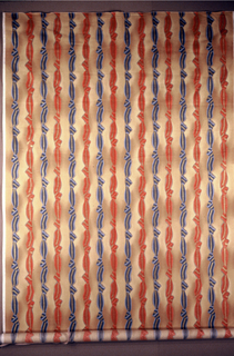 Stripes of tied ribbon. Alternately blue and red stripes on a beige ground.