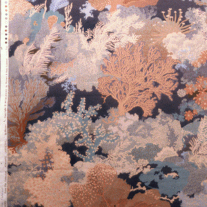 Printed cotton with impressionistic design of various corals and seaweeds. In four pinks, five blues, grey, white and brown.