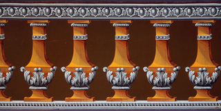 Balustrade with acanthus decorations. Topped by a band of egg-and-foliate design. Bottom band has a leaf pattern over dentilling.