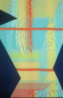 Length of woven textile in which jagged columns of blue/black alternate with areas in which a brushstroke-like pattern appears on a subtly graded ground of red, pink, yellow, and light blue.